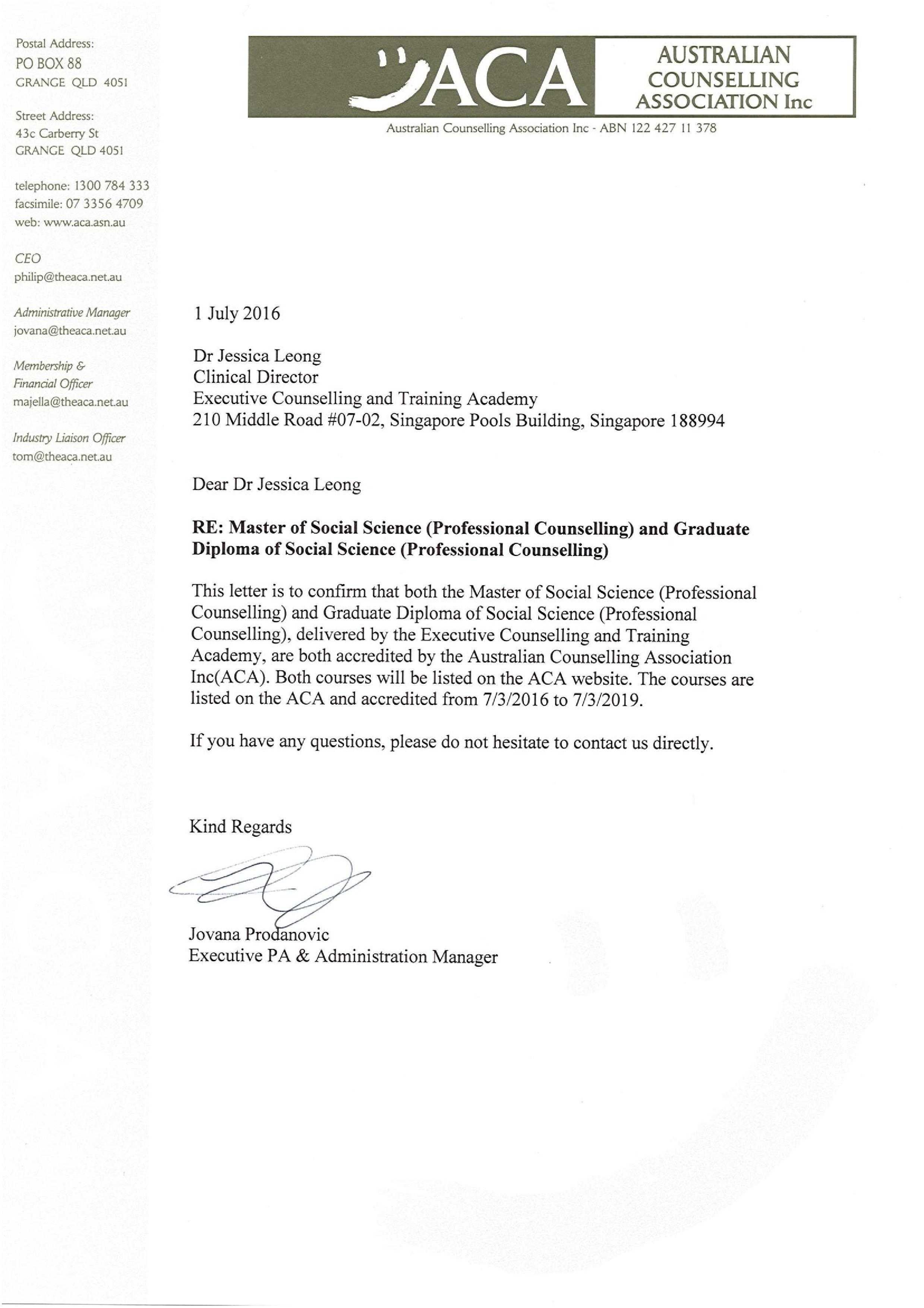 ACA Recognition for Master of Social Science (Professional Counselling)