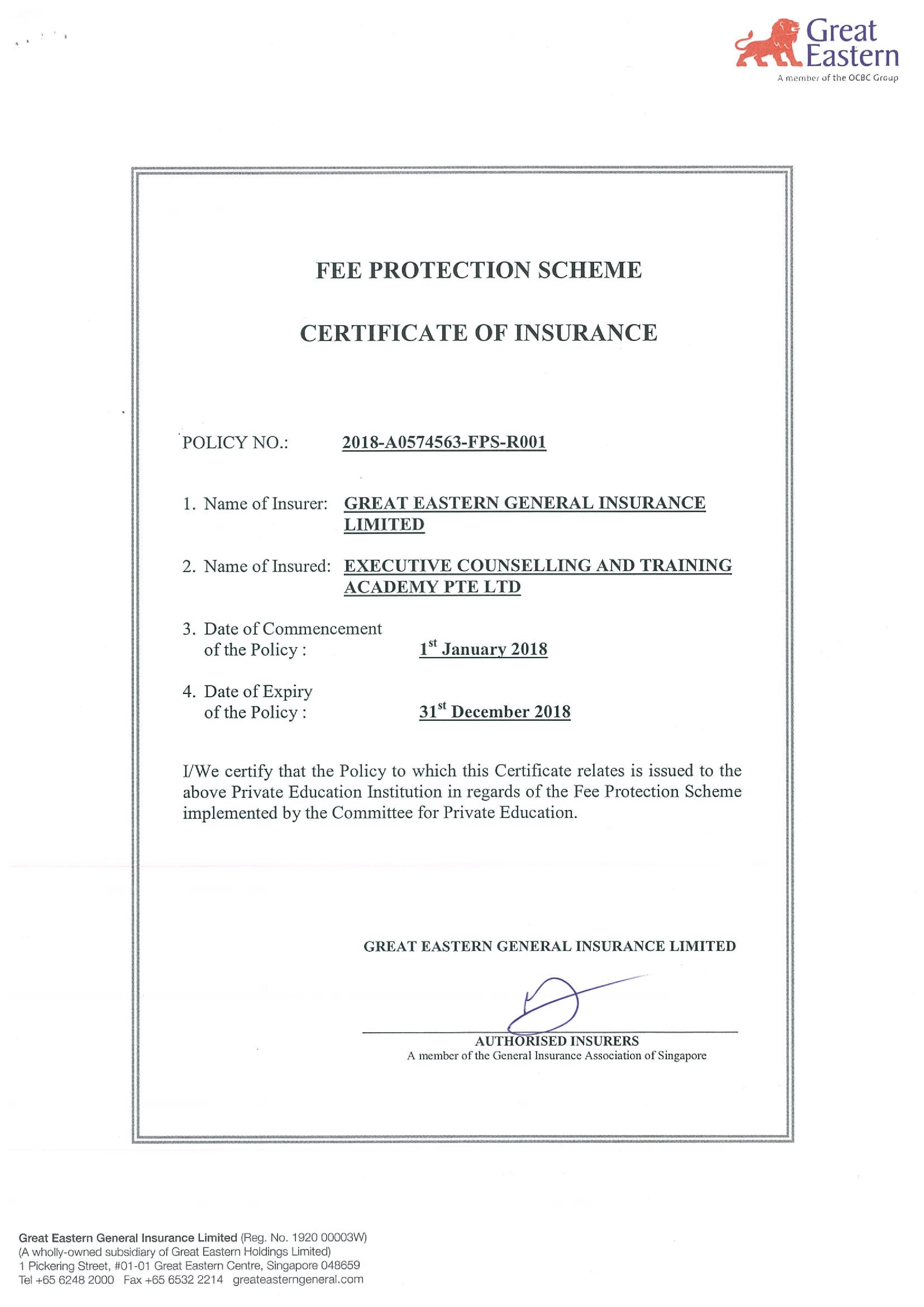 Fee Protection Scheme Certificate of Insurance